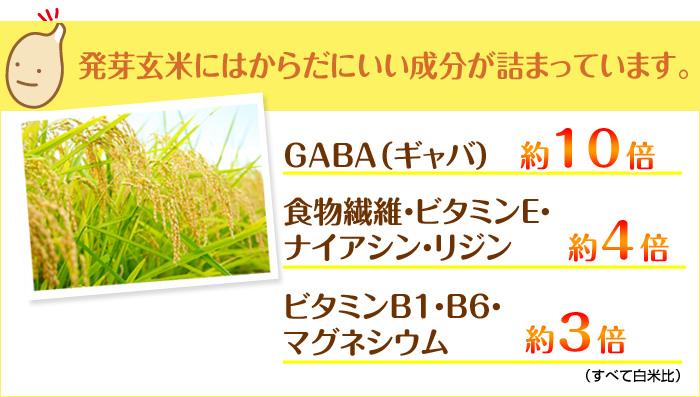 からだにいい成分が詰まっています。GABA(ギャバ) 約10倍、食物繊維・ビタミンE・ナイアシン・リジン 約4倍、ビタミンB1・B6・マグネシウム 約3倍
