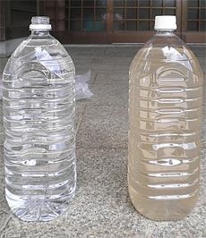 [左]エリクサー通水後 [右]野池の原水