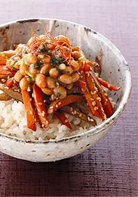 きんぴら+韓国納豆丼