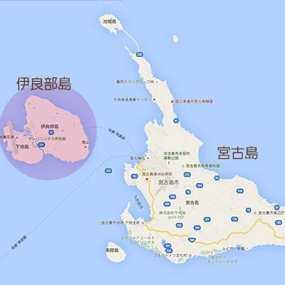 宮古島における伊良部島の位置の地図