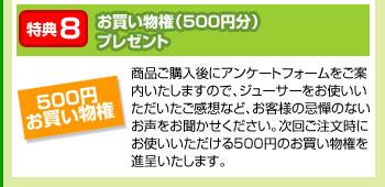 特典8:お買い物権(500円分)プレゼント