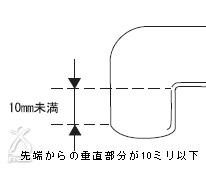 ミスパ ビューティー・ミニ:先端からの垂直部分が10ミリ以下