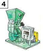 微粉末にするためハンマー式粉砕機で少しずつ砕いて粉末にしていく。