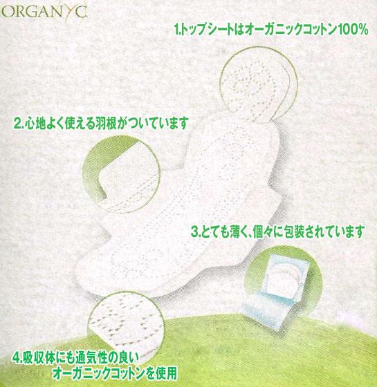 ORGANYCのライナーの構造 1.トップシートはオーガニックコットン100% 2.心地よく使える羽がついています 3.トても薄く、個々に包装されています 4.吸収体にも通気性の良いオーガニックコットンを使用