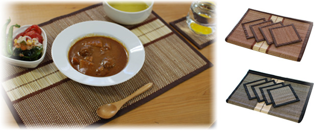 タイ王国イサーン地方の極細バンブー・手織りランチョンマット&コースターセット4人用(黒系・茶系)の画像