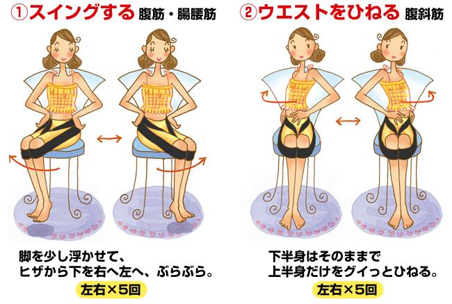 �スイングする腹筋・腸腰筋 脚を少し浮かせて、ヒザから下を右へ左へ、ぶらぶら。左右×5回 �ウエストをひねる 腹斜筋 下半身はそのままで上半身だけをグイッとひねる。左右×5回