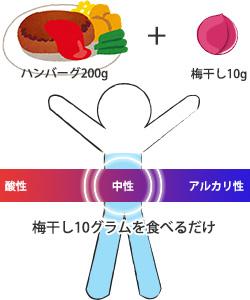200gのハンバーグに対して、梅干し10グラムを食べるだけで、体液が酸性とアルカリ性の真ん中に